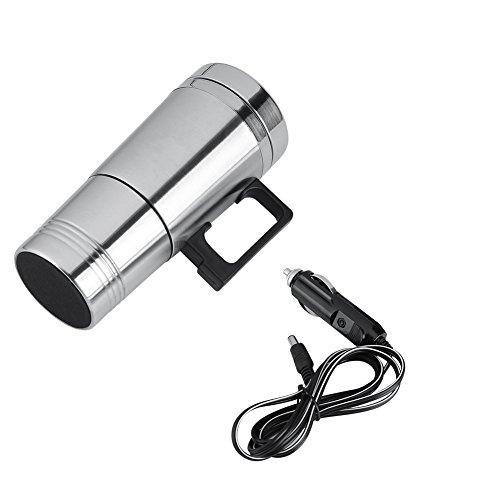 Taza de la calefacción del Coche, 12V / 24V 300ml Tazas de Agua del té del café eléctrico del Coche Tazas de la Botella del Termo del Viaje del Acero Inoxidable del Calentador(24V)