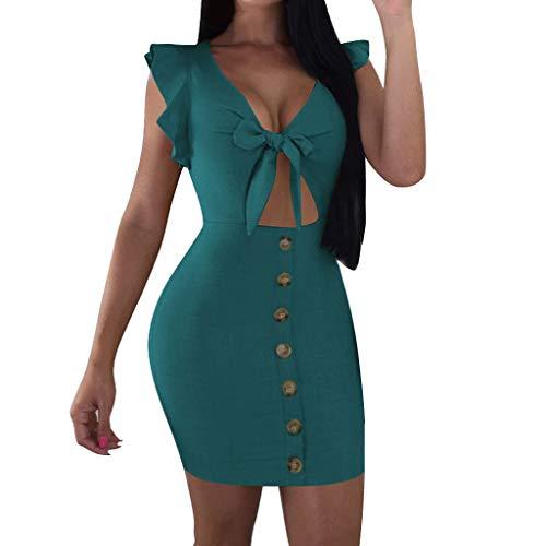 Vimoli Kleider Damen Frauen Reine Farbe V Kragen MiniKleid ärmelloses enganliegendes Frenulum Kleid(Grün,De-32/CN-S)