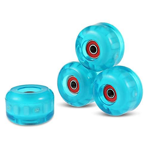 TGHY Rueda de Skateboard Intermitente LED Rueda de Repuesto de PU de 55x36mm Rueda Iluminada 85A con Rodamientos ABEC-9 4 Piezas,Azul