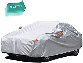 GUNHYI Outdoor Car Covers for Automobiles Waterproof All Weather, 6 Layer Heavy Duty Cover Sun uv Protection, Universal Fit Sedan (Length 182-191inch)