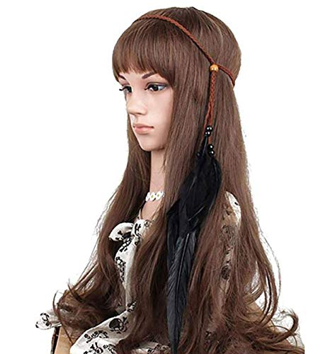Juego de 2 diademas de plumas negras bohemias con brazalete gitano hippie pavo real sombreros para mujeres y niñas favoritos accesorios para el pelo