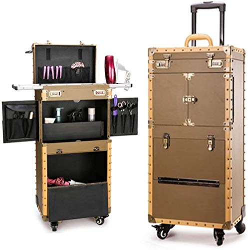 Multifunction Hair Stylist Barber Artists Rolling Cosmetic Makeup Train Cases Trolley Toolbox Professional Artist Train Case Organizer Box Lift-Yellow iteration
