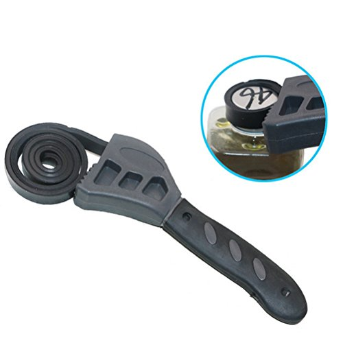 UKCOCO 2 in 1 500mm Multifunctional Strap Wrench with Adjustable Rubber Strap Bottle Opener Auto Oil Filter Car Repair Spanner Hand Tools