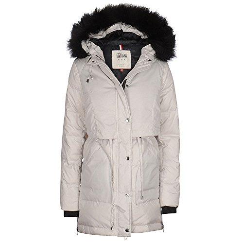 Tommy Jeans Damen Down Parka Lang - Regulär Daunenjacke Jacke Weiß (Wind Chime 424) 8 (Herstellergröße: Small)