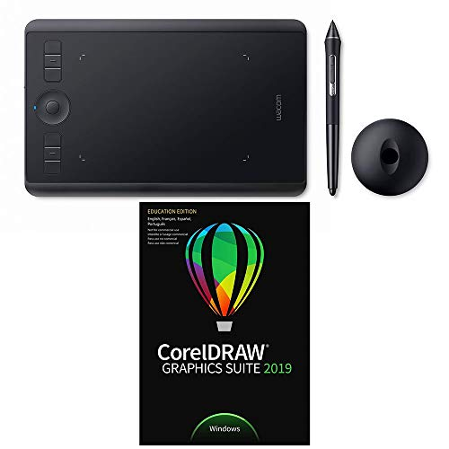 Wacom Intuos Pro Small Pen Tablet PTH460K0A with CorelDraw Graphics Suite 2019 for Windows Academic