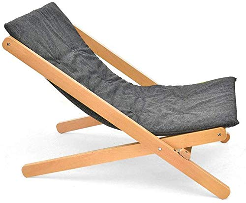 JIEER-C Vrijetijdsstoelen, inklapbare ligstoel, draagbare Lazy sofa, stoel, tuinterras, outwell, camping, zonnebed, houten frame, duurzaam sterk grijs