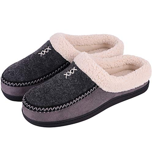 Men's Cozy Fuzzy Wool Fleece Memory Foam Slippers Slip On Clog House Shoes -$8.78(48% Off)