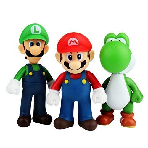 CY Figuras de Super Mario Toys Mario y Luigi Figuras Yoshi y Mario Bros, Conjunto de 3 Figuras Mario en PVC para niños y Adultos 2 Porte-clés
