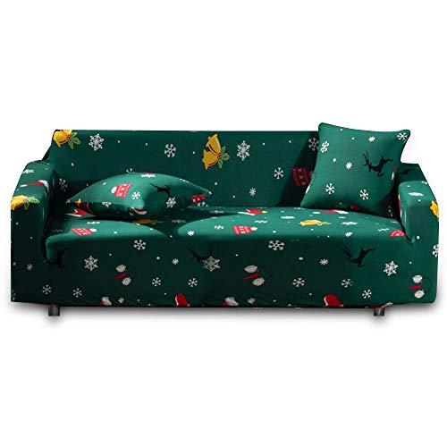 JBNJV Fundas de sofá de 2 plazas, Fundas de sofá elásticas universales con diseño navideño, Fundas de sofá de 2 plazas Estampadas, Protectores de Fundas de sofá para Sala de Estar de 2 Cojines