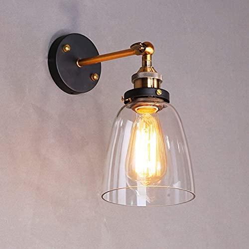 LIGHTESS Lampada Industriale da Parete Interni Stile Applique Vintage Vetro con Attacco E27 a Due Teste … (S4)
