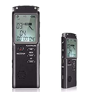 Lychee Grabadora de Voz Digital Portátil 8GB 1536kbps,Recargable Reproductor de MP3, Micrófono Dual ,Reducción de Ruido, Pantalla LCD y Activación por Voz, para Lecciones / Reuniones / Entrevistas