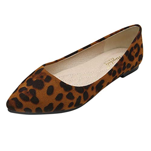 Gtagain Plataforma Bailarinas Estampado Leopardo Casuales - Mujer Plano Gamuza Punta Puntiaguda Bombas Suave Sencillo Mocasines Confort Caminar Trabajo Zapatos (Los Zapatos Son más pequeños)