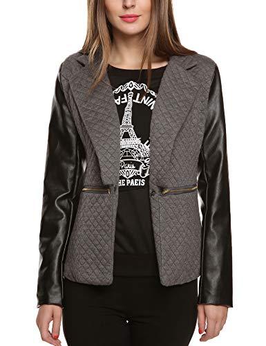 Beyove Damen Jäckchen Reißverschluss Kurzjacke Mantel Klassische Jacke Bomberjacke Bikerjacke (EU 44(Herstellergröße: XXL), D+Grau)