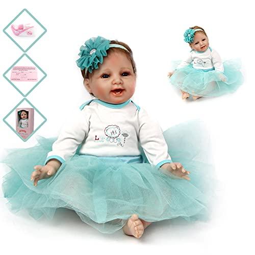 ZIYIUI Muñeca Reborn 55 cm 22 Pulgadas Bebe Reborn de Silicona Real Suave Vinilo Realistic Recién Nacido Bebé Muñeco Juguetes Regalode Los Niños Reborn Dolls