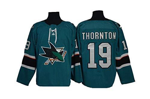 Gmjay Thornton # 19 Hockey Trikot San Jose Sharks Hockey Grün Genähte Buchstaben Zahlen NHL Long Sharks Trikot,L