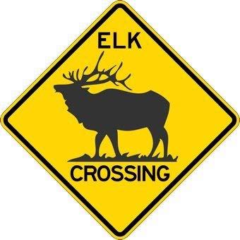 Elk Crossing Warning Sign - 12x12 inch