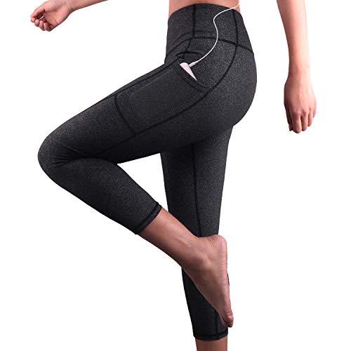 GRAT.UNIC Mallas Deportivas de Mujer,Mujer Pantalones elásticos de Yoga con Bolsillos Laterales,3/4 Polainas de Yoga Fitness (Gris 3/4, M)