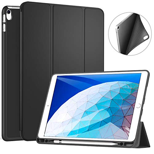 ZtotopCase for iPad Air 10.5' (3rd Gen) 2019/iPad Pro 10.5' 2017 with Pencil Holder, Ultra Slim Soft TPU Back and Trifold Stand Cover with Auto Sleep/Wake Full Body Protective Smart Case, Black