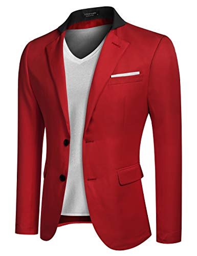 Coofandy Men's Casual Dress Suit Slim Fit Stylish Blazer Coats Jackets, Size XX-Large, Red