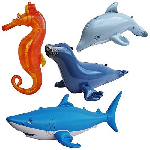 Jet Creations Inflatable Ocean Life Sea Underwater Assorted Bathtub Toys Educational, OCEAN01, 4 Count