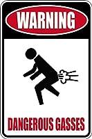 アルミニウム金属サインおかしいおかしいおなら警告危険なガス情報ノベルティ壁アート垂直