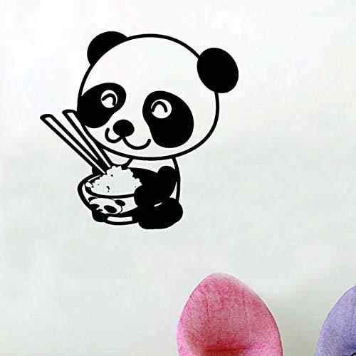 Tianpengyuanshuai Cartoon Panda Wandaufkleber Kinderküche Kinderzimmer Essen süße Geschenke Vinyl Wandaufkleber -85X85cm