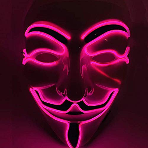 LED Mask V for Vendetta Neon EL Wire Light Up for Halloween,Christmas,Carnival,Festival,Costume Cosplay Party (v-Pink)