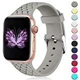 HUMENN Sportbnder Kompatibel mit Apple Watch Armband 38mm 42mm 40mm 44mm, Damen Soft Silicone Weave...