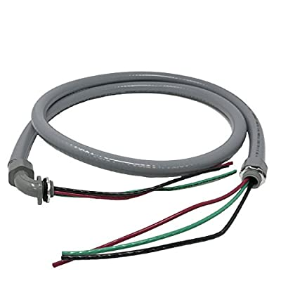 Sealproof Power Whip Assembly, 1/2-Inch x 6 Ft Nonmetallic Liquid Tight Flexible Electrical Conduit and 10 Gauge Wire Single Phase Preassembled A/C Hook-up Whip Kit, 1/2""