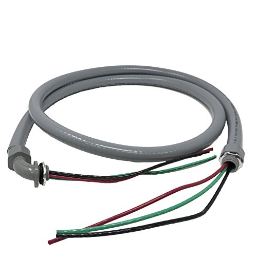Sealproof Power Whip Assembly, 1/2-Inch x 6 Ft Nonmetallic Liquid Tight Flexible Electrical Conduit and 10 Gauge Wire Single Phase Preassembled A/C Hook-up Whip Kit, 1/2
