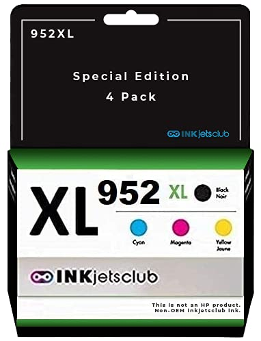 InkjetsClub Compatible Ink Cartridge Replacement for HP 952XL Black & 952 Standard Colors use with OfficeJet Pro 8710 8720 7720 7740 8210 8702 8715 8725 8730 8740 Printers, No Ink Level, 4 Pack