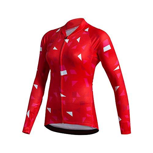 Maglia da ciclismo donna manica lunga rossa con tasca, asciugatura rapida traspirante ciclo per bicicletta Abbigliamento per biciclette Elastico da montagna per esterno Abbigliamento sportivo