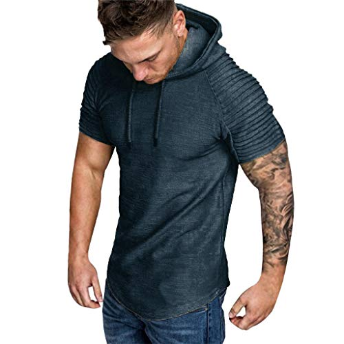 Forthery Mens Gym Hooded Jacket Raglan Short Sleeve Tank Athletic Slim Fit Lightweight Workout Fitness Tops(Gray,US Size S = Tag M)