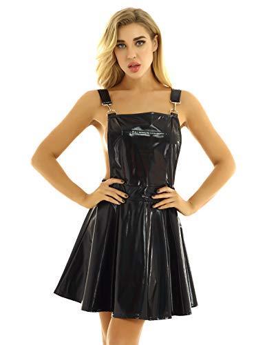 IEFIEL Vestido Corto de Cuero para Mujer Vestido Metálico Corto con Tirantes Ajustables de Patinaje Vestido Charol de con Falda Pliasa de Discoteca