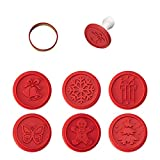 Silicone Cookie Stamps Cookie Impression Cake Molds Party Novelty Baking Supplies Cake Decorating DIY Accessories Xmas Gift (Red)