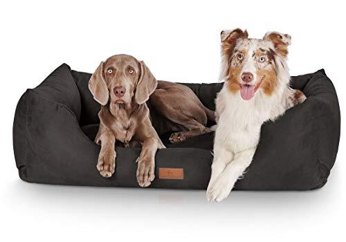 Knuffelwuff Hundebett XXL Dreamline Hundekorb Hundesofa Hundekissen Hundekörbchen waschbar Schwarz 120 x 85cm grosse Hunde