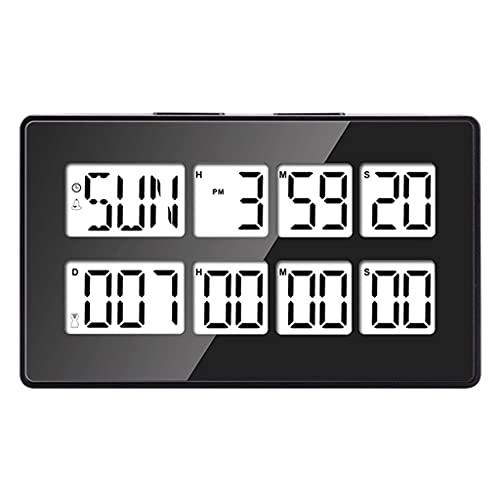 Fenteer Pantalla LED Cocina Temporizador de Cuenta Regresiva Eclosión Cocinar Hornear Gimnasio Reloj de temporización simultáneo Cronómetro Contador de Tiempo