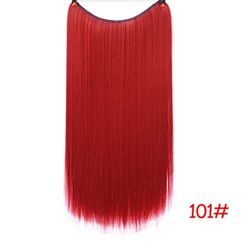 No Clips In Straight Hair Extensions Invisible Bayalage Synthetic Natural Flip Hidden Secret Wire Crown Grey Pink-E