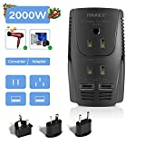 TRYACE 220V to 110V Voltage Converter Step Down Voltage for Hair Dryer, Straightener, Curling Iron,Laptop,Cell Phone.Power Converter with 2-Port USB and UK/AU/US/EU Worldwide 10A Plug Adapter