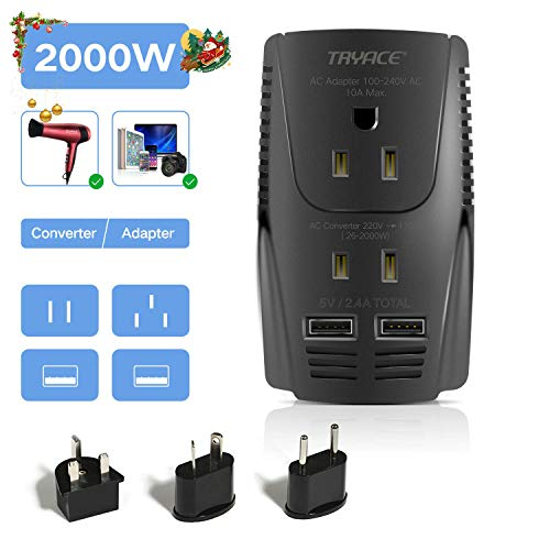 TryAce 2000W Voltage Converter with 2 USB Ports,Set Down 220V to 110V Power Converter for Hair Dryer /Straightener /Curling Iron, Travel Transformer for UK/AU/US/EU Plug Adapter(Exclusive)