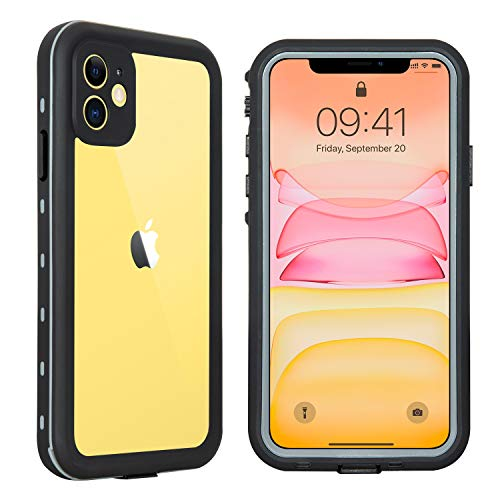 Hertekdo Funda para iPhone 11, IP68 Funda Impermeable para iPhone 11 con Kickstand Absorción de Choque Resistente iPhone 11 Funda Ideal para Buceo, Esquí y Natación