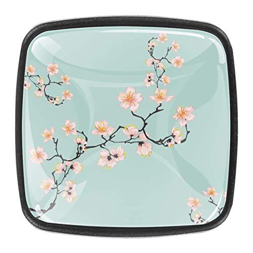 4 pomos sólidos para gabinete de cocina, cajones cuadrados, tiradores de flores de cerezo, color azul, 01