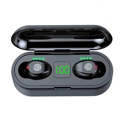 Nihlsen F9 - Auricolare senza fili per chiamate bilaterali con ampio vano batteria
