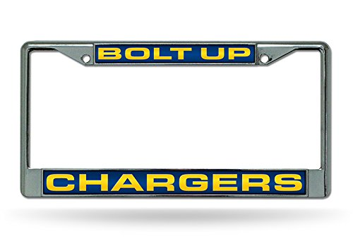 NFL Rico Industries Laser Cut Inlaid Standard Chrome License Plate Frame, Los Angeles Chargers - Bolt Up, 6 x 12.25-inches