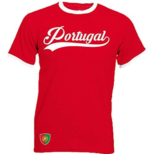 Portugal - Ringer Retro TS - rot - EM 2016 T-Shirt Trikot Look (M)