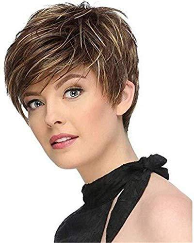 NBVCX Inicio Accesorios Lady Full Wig Peluca Browm Pelucas para Mujeres Lady Short Straight Brown Mix Light Blonde Full Head Sintético Resistente al Calor