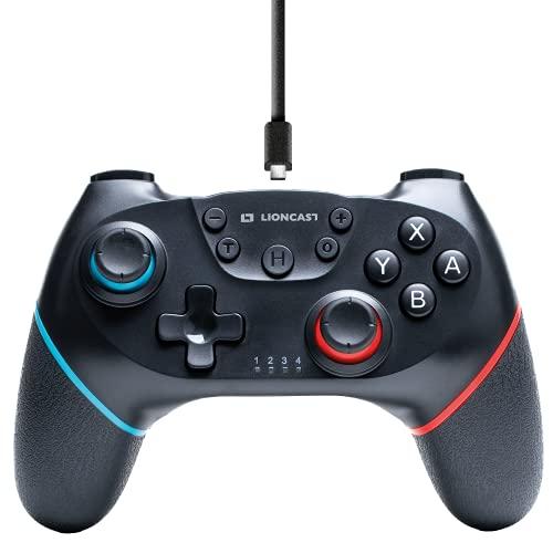 Lioncast Wireless Controller für Nintendo Switch, Starke Dual Rumble Vibration, kabelloser Switch Controller/Switch Pro Controller mit 6-Achsen-Bewegungssteuerung, 10m Reichweite, 15h Spielzeit