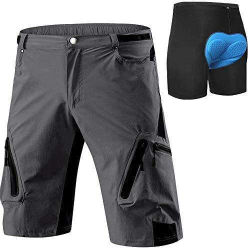 Cycorld MTB Hose Herren Radhose, Schnelltrocknend Mountainbike Hose Fahrradhose mit 4D Sitzpolster, Elastische Outdoor Sport Herren Radlerhose MTB Bike Shorts (Grey mit Pad, L)