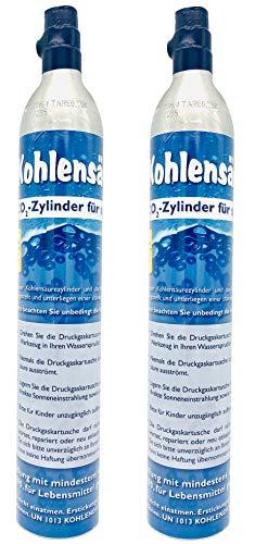SodaNature™ | Neu & Erstbefüllt: Duo Pack: 2 Versiegelte CO2-Zylinder für alle SodaStream Wassersprudler (z.B. Crystal) | Reserve-Gaskartuschen jeweils gefüllt mit 425g Kohlensäure für 60L