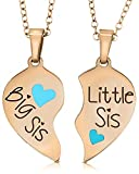 Big Sis & Lil Sis Gifts Heart Necklace Set, 2 Sister Necklaces for Teens & Girls, Big & Little...